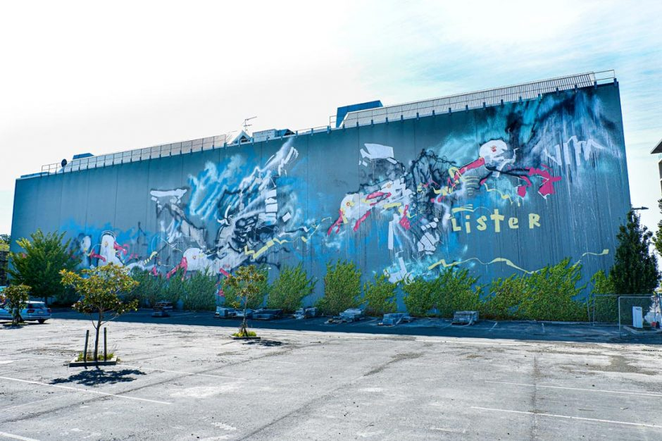 Street art of sea gulls by Anthony Lister on Cashel Street in Christchurch
