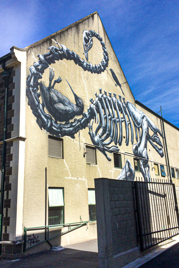 Monochrome mural by ROA on Canterbury Museum in Christchurch representing a moa and kiwi