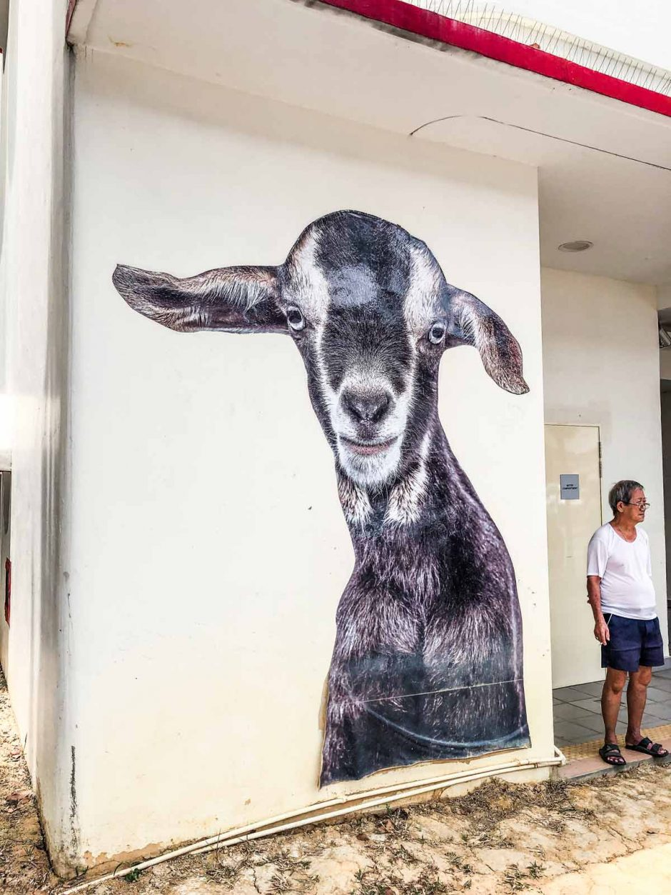 street art of a goat in Tiong Bahru Singapore