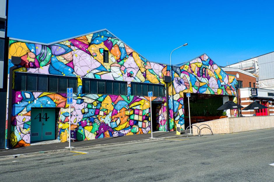 Colourful abstract street art by Jacob Yikes in Christchurch
