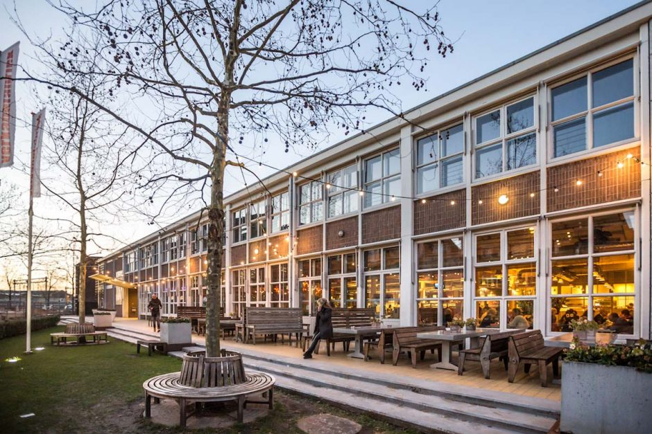 outdoor beer garden of cinema Verkadefabriek
