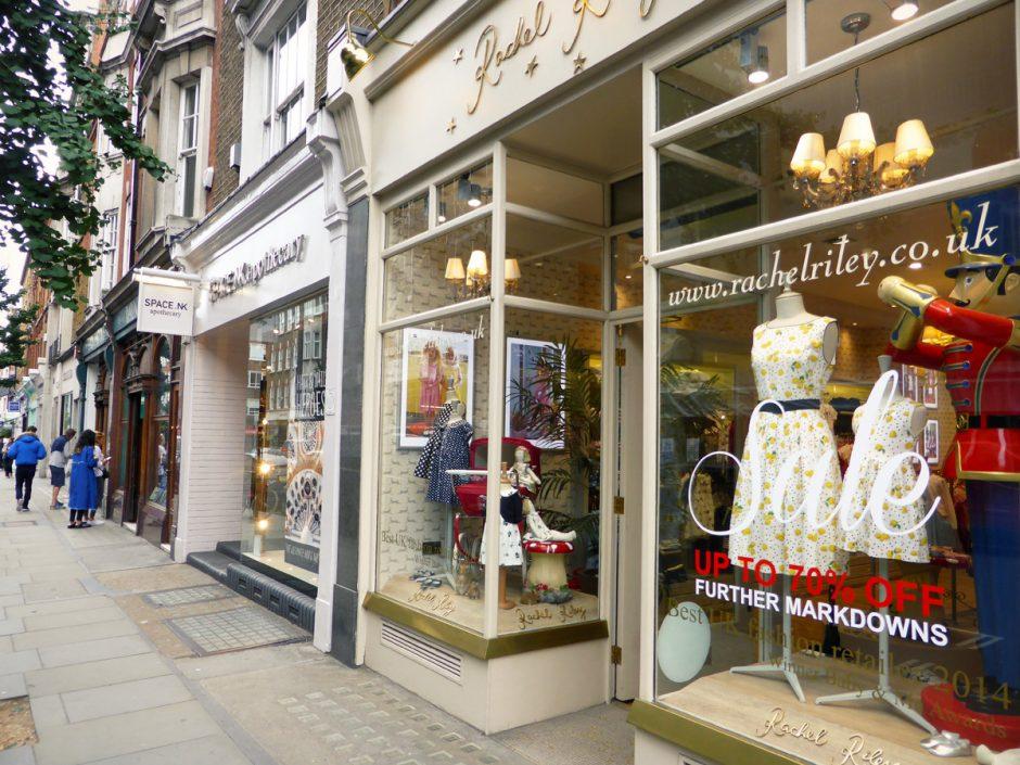 shopping street in Marylebone London