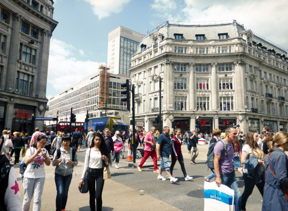 Oxford Street is famous for shopping in London