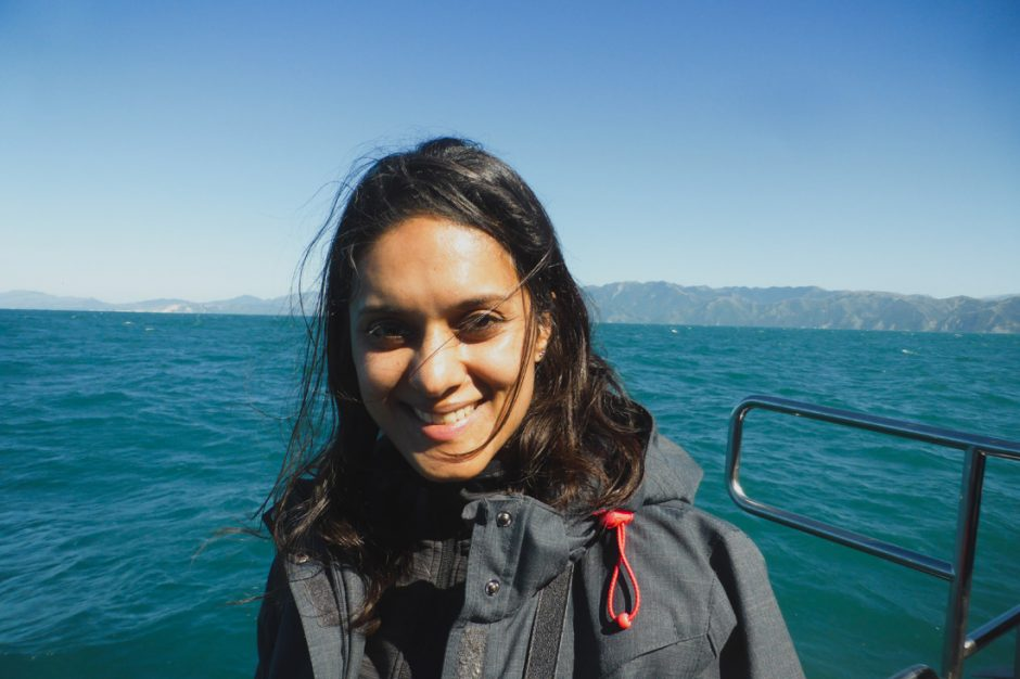 photo of me on the boat during the Kaikoura whale watching tour
