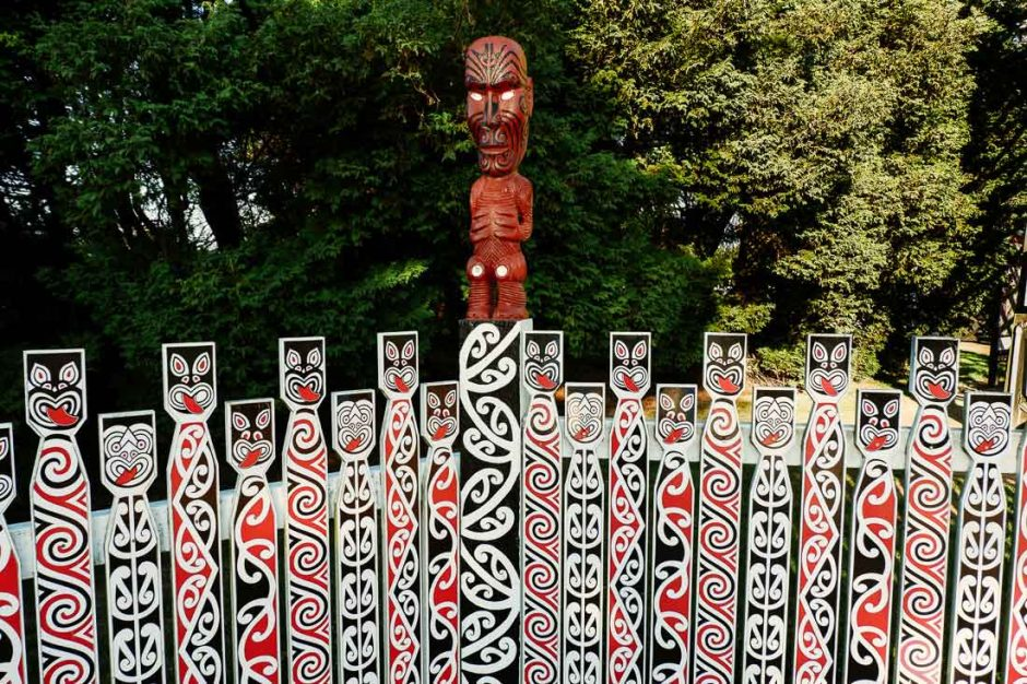 Maori artwork in the Government Gardens in Rotorua