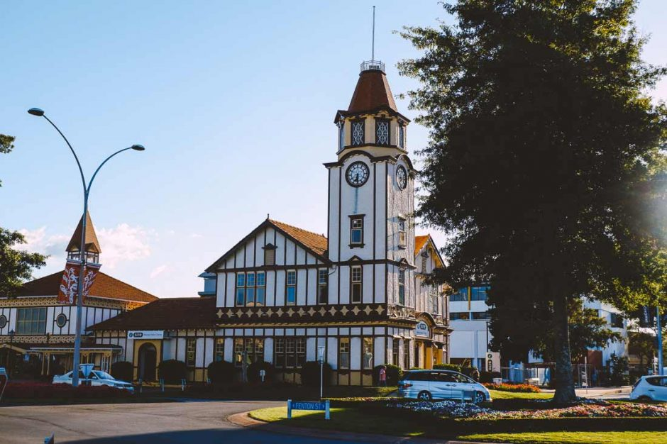 the Rotorua i-SITE Visitor Centre is a beautiful Tudor-style building