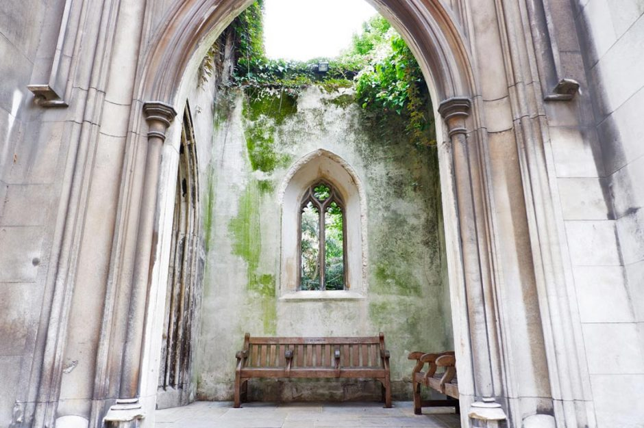 beautiful preserved arched window from the old church ruins