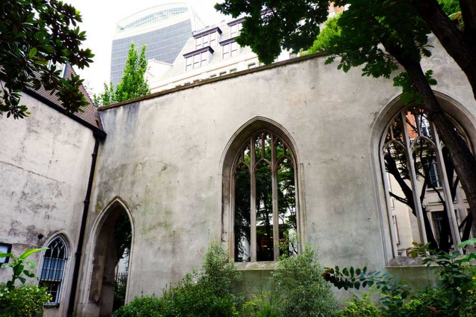 The ancient St Dunstan in the East with the modern Walkie Talkie skyscraper hovering over it in the background