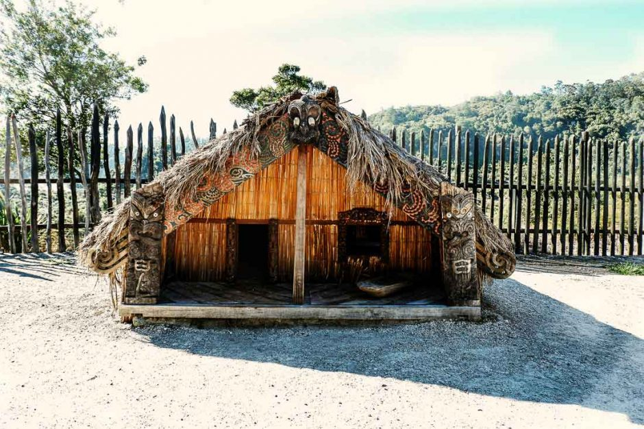 restored Maori village in Te Puia geothermal park in Rotorua