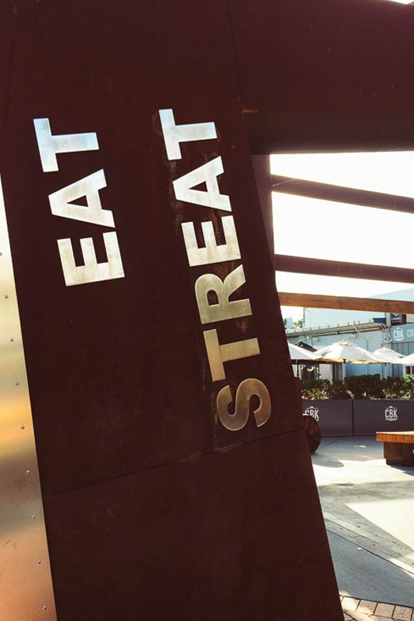 Entrance to Eat Streat in Rotorua. a pedestrianised food court