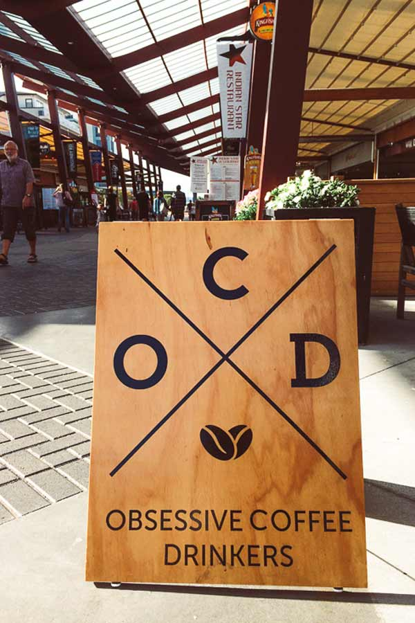 sign for the cafe OCD Obsessive Coffee Drinkers on Eat Streat in Rotorua