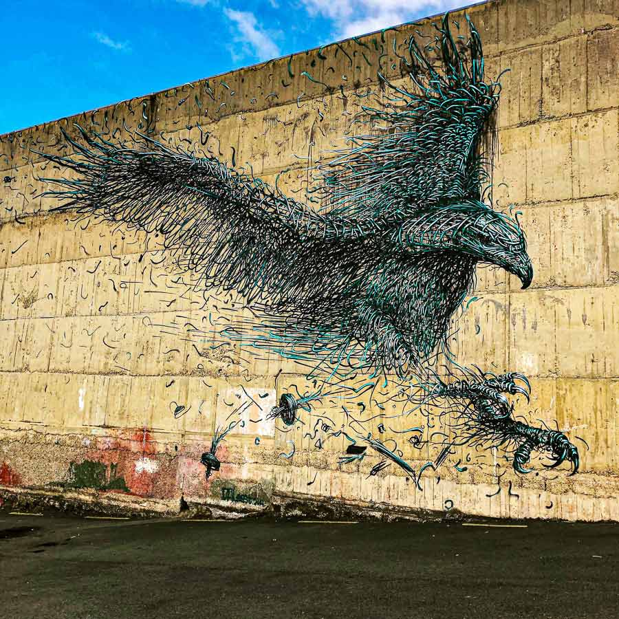 mural of an eagle consisting of shards of metal