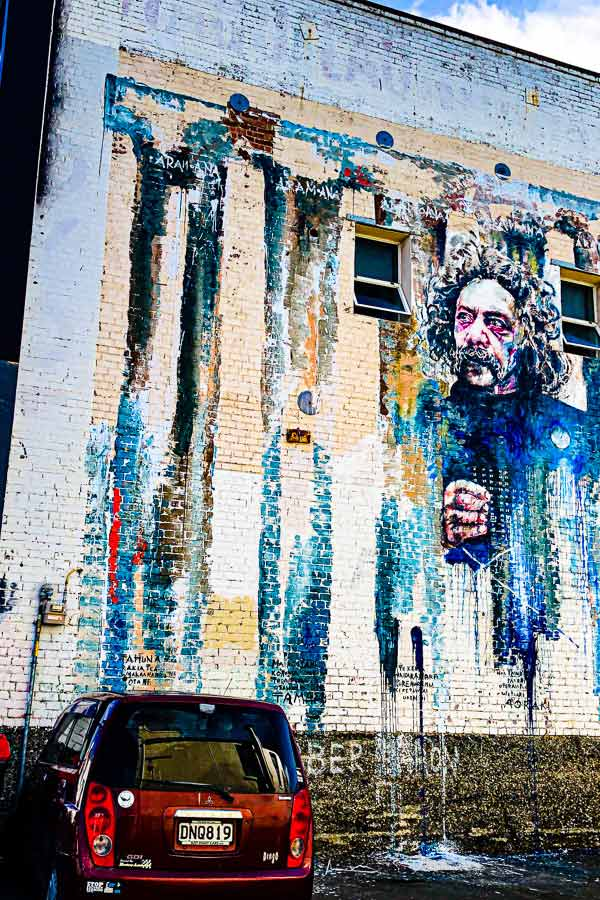 mural as a tribute to Dunedin local artist Ralph Hotere