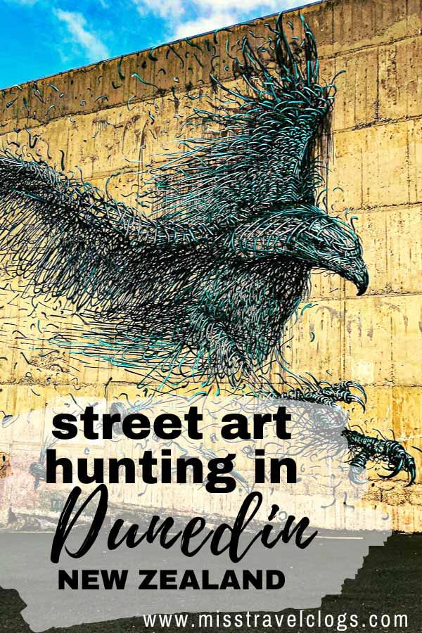 Pinterest pin for street art in Dunedin New Zealand