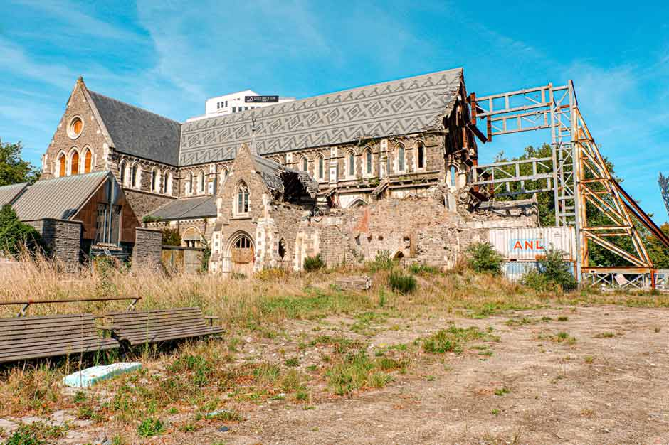 side view of the old Christchurch Cathedral that was destroyed in the 2011 Christchurch Earthquake