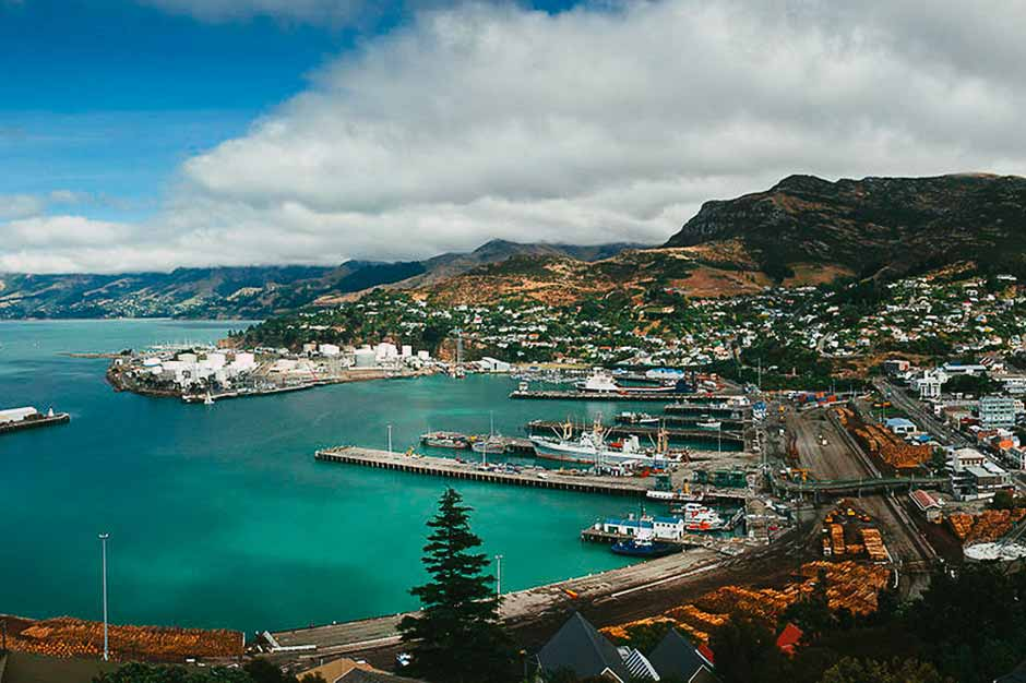 Harbour view of Lyttelton, New Zealand