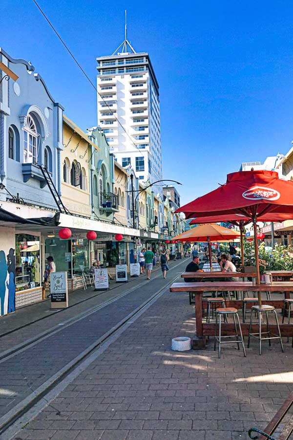 the colourful New Regent Street is one of the best places to eat in Christchurch
