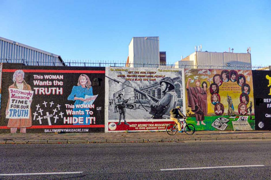 Street in West Belfast covered in political murals