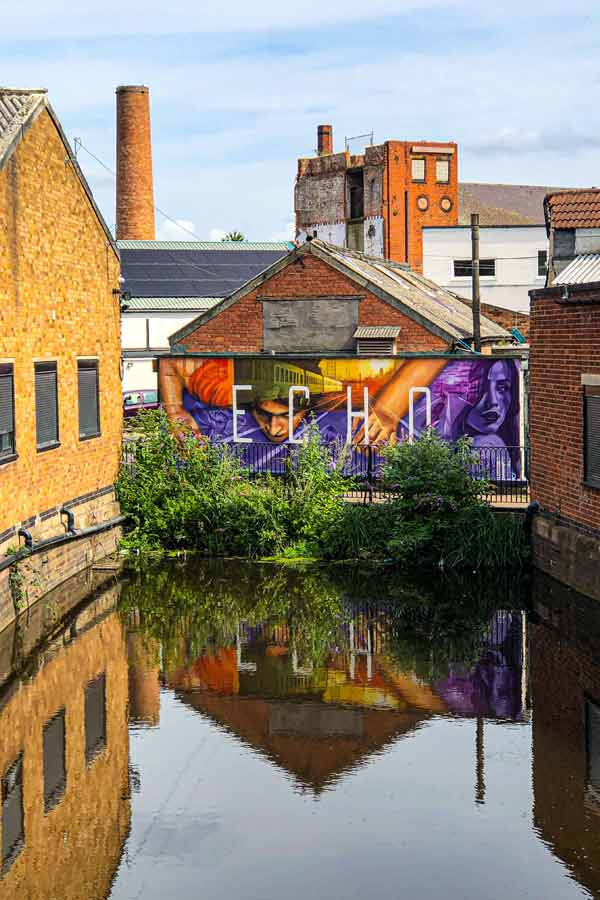 street art in Leicester overlooking the canal telling the story of Narcissus and Echo