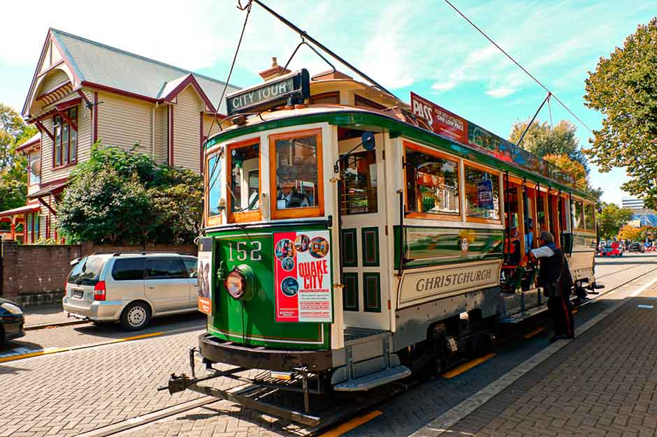 the vintage Christchurch tramway driving in the street