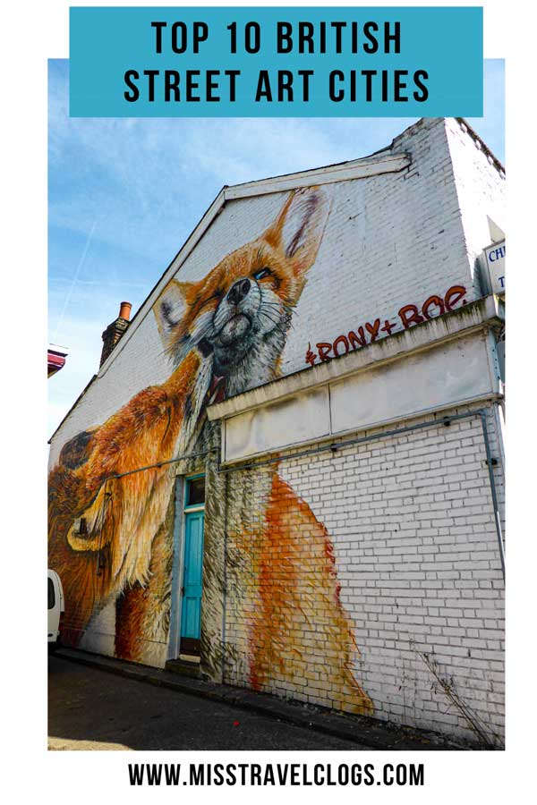 Pinterest image of a mural with two foxes licking each other by Irony+Boe in London
