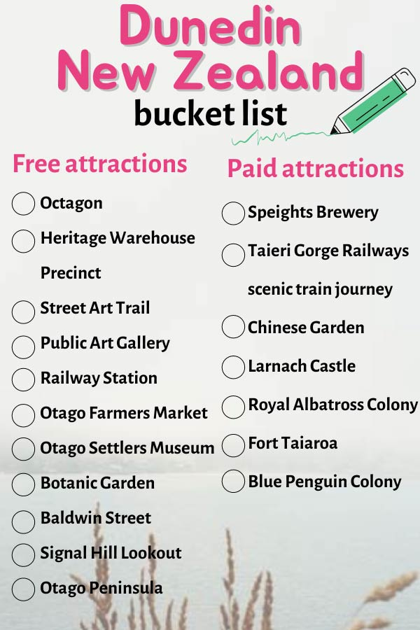 Pinterest image for pinning the best tourist attracttions to see during three days in Dunedin