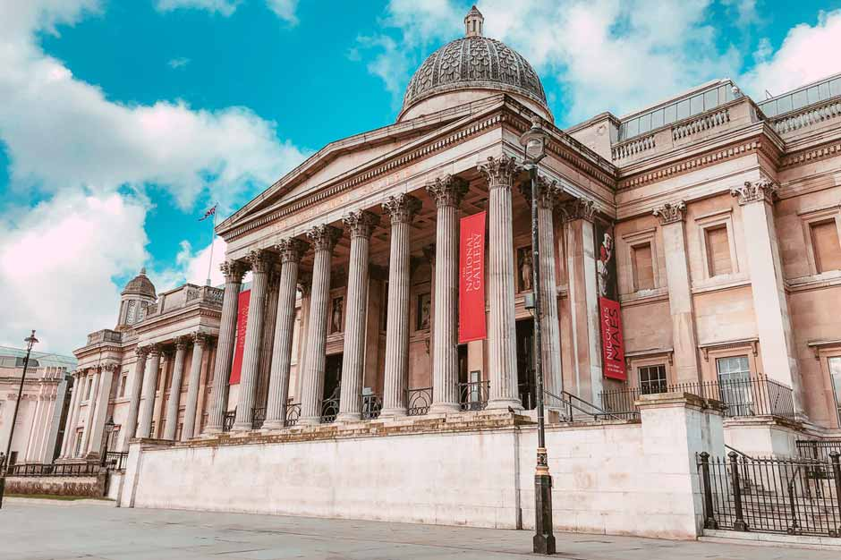 Exterior of the National Gallery in Trafalgar Square, London
