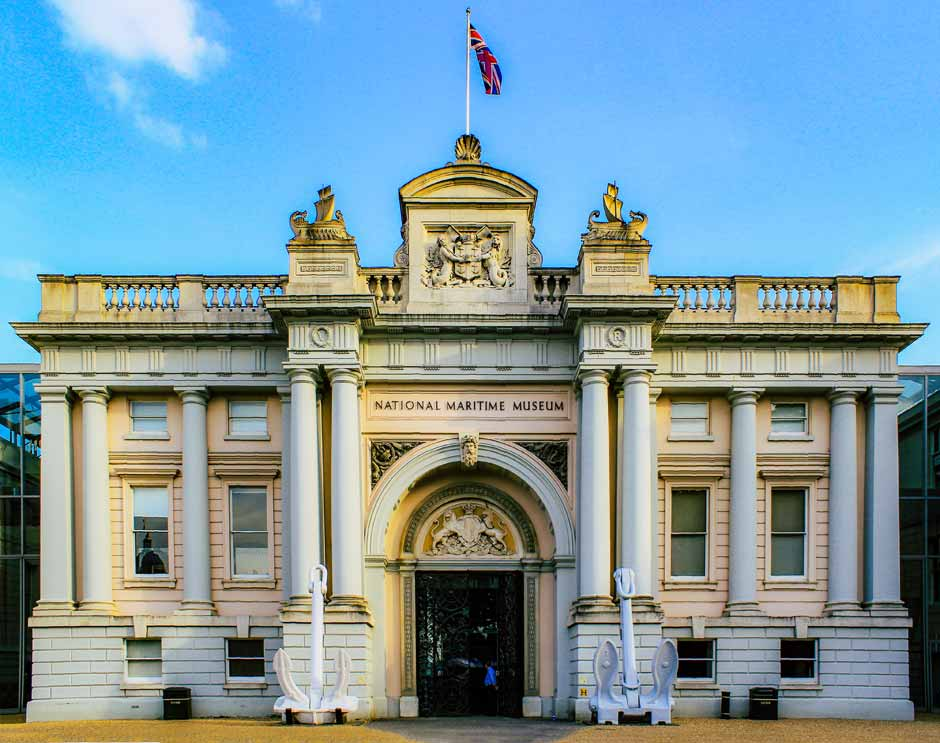 exterior of the National Maritime Museum in Greenwich, London