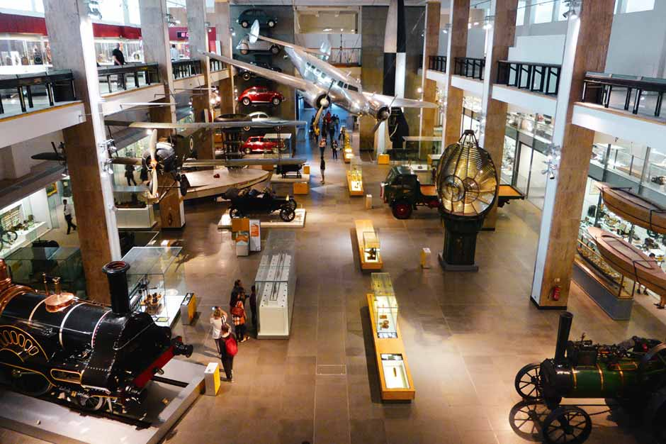 Display of antique vehicles in the Science Museum London