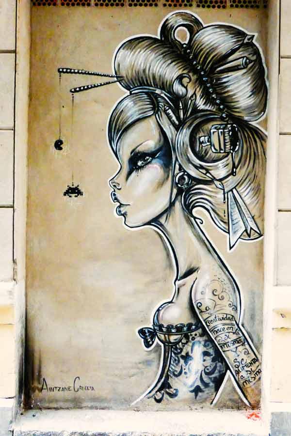 Mural of a woman by Aintzane Cruceta