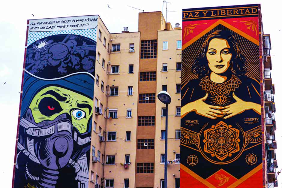 Apartment block with two large murals by D*Face and Shepard Fairey
