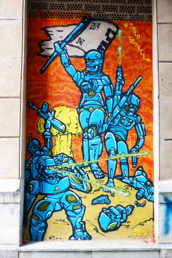 Mural of the rise of the robots