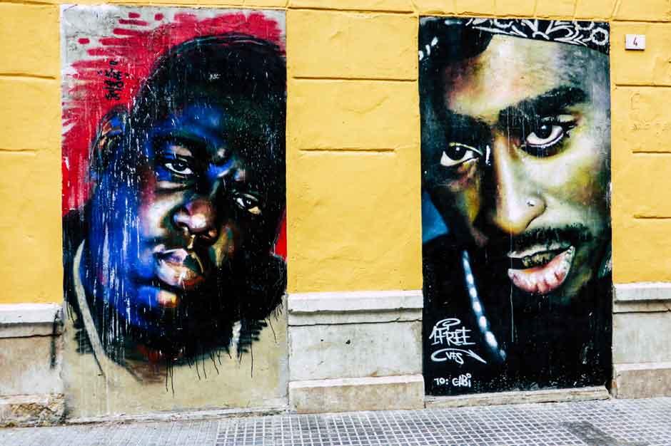 Murals of The Notorious B.I.G. and Tupac Shakur in Málaga