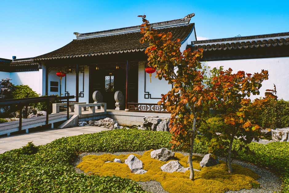 exterior of the Chinese Garden in Dunedin, New Zealand