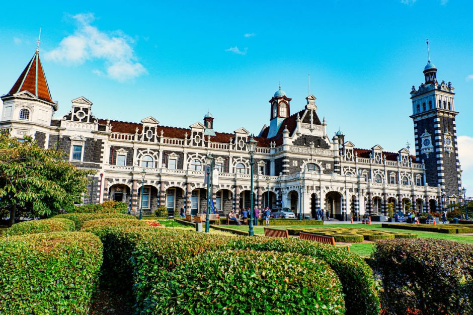 exterior of the Dunedin Railway Station built in Flemish Renaissance-style