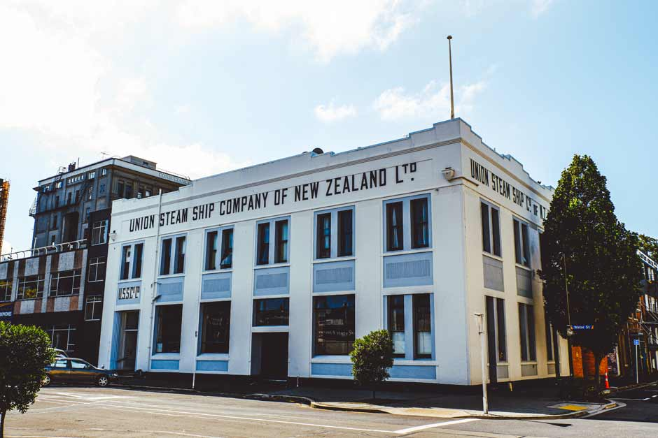 old office building of the Union Steam Ship Company of New Zealand Ltd in the Heritage Warehouse Precinct in Dunedin, New Zealand