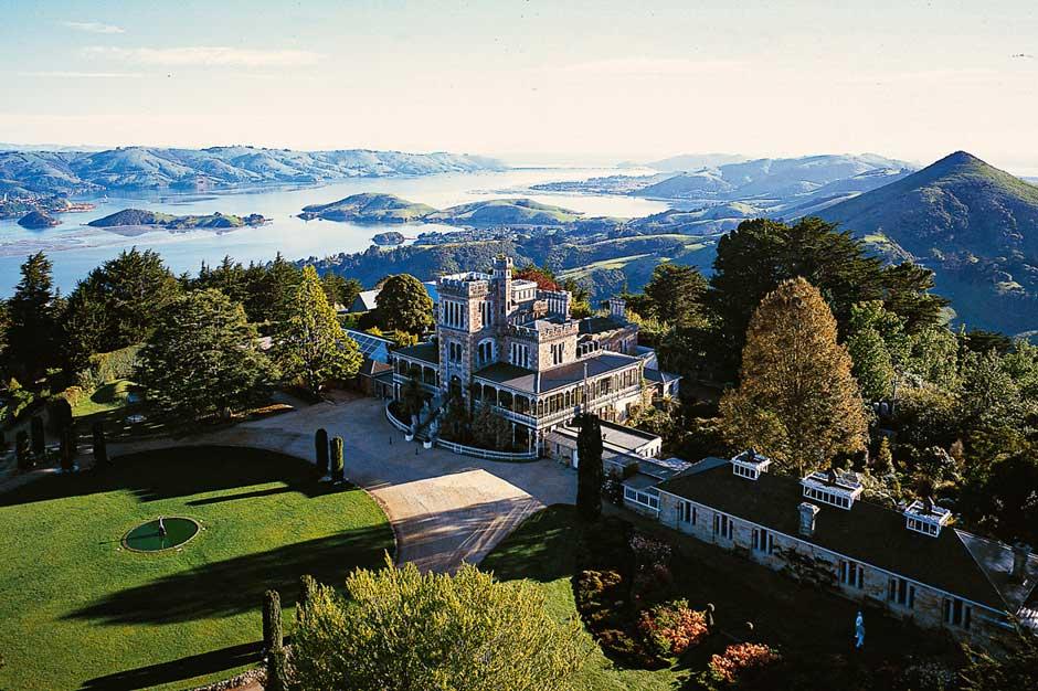 aerial view of Larnach Castle on Otago Peninsula near Dunedin, New Zealand