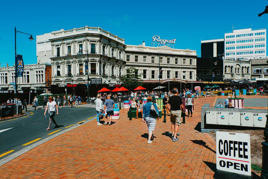 The Octagon in Dunedin, New Zealand, is lined with restaurants and bars