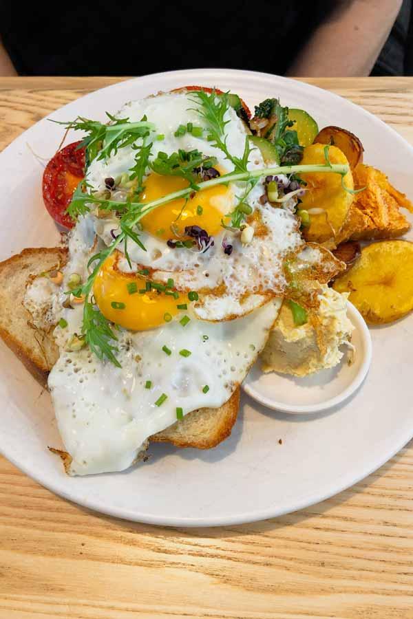 Plate of veggie brunch in Market Kitchen café in Dunedin, New Zealand