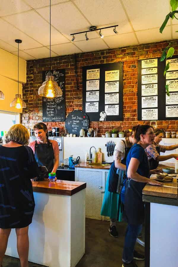Inside the Beam me up bagels bagel shop in Dunedin, New Zealand