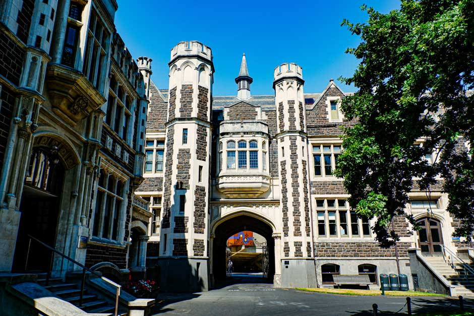 University building in Dunedin, New Zealand, in gothic revival style