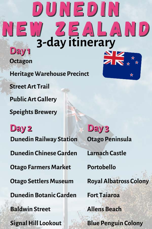 Pinterest image for pinning what to do in 3 days in Dunedin, NZ