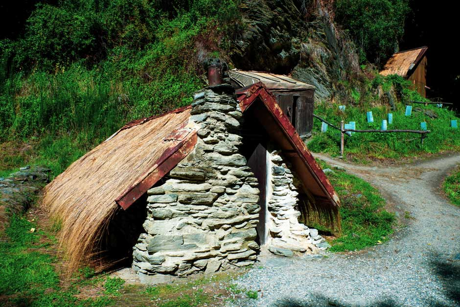 primitive stone hut where Chinese immigrants used to live in during the Otago Gold Rush in New Zealand