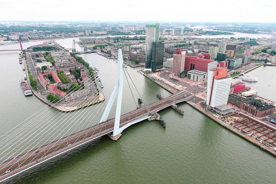 aerial view of the Erasmusbrug (Erasmus Bridge)