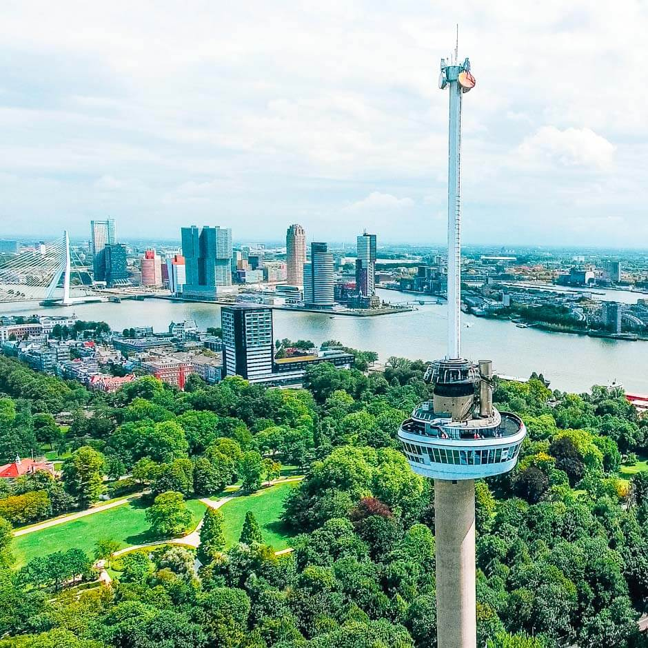 aerial view of the Euromast and iconic Rotterdam architecture in the background