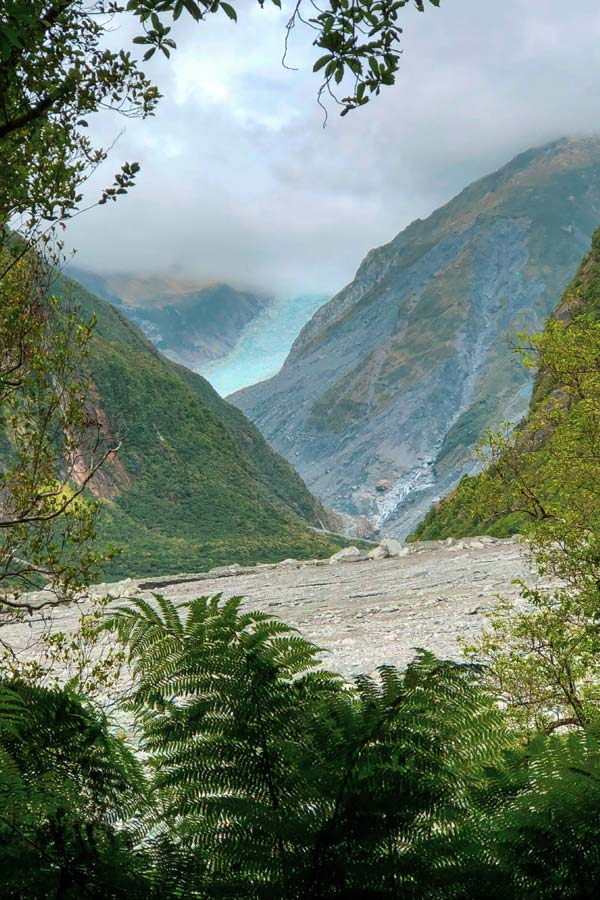 Fox Glacier on the West Coast of New Zealand seen from the Fox Glacier River Walk Lookout