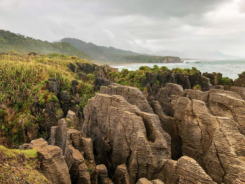 Close-up of the pancake rocks in the Paparoa National Park on the West Coast of New Zealand