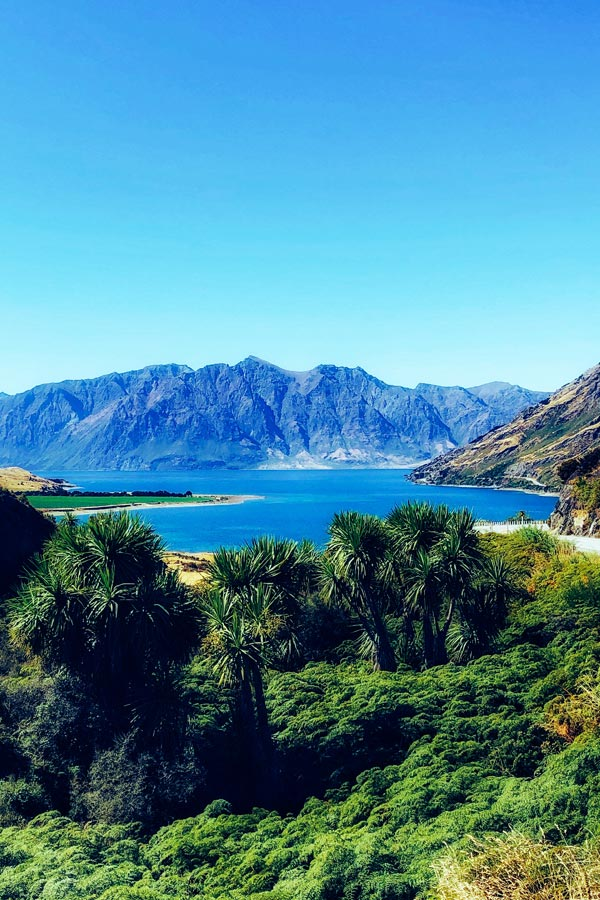 lookout point overlooking Lake Hawea on the South Island of New Zealand