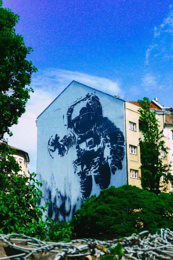 Astronaut mural by Victor Ash on Mariannenstrasse in Kreuzberg