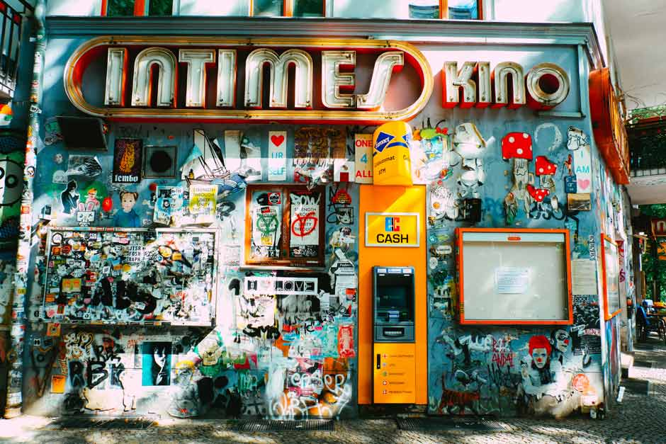 Outside of Intimes Kino in Friedrichshain covered in graffiti and street art